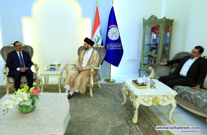 Sayyid Ammar al-Hakim receives MP Talal al-Zawbaie to discuss latest developments in the political situation and upcoming election