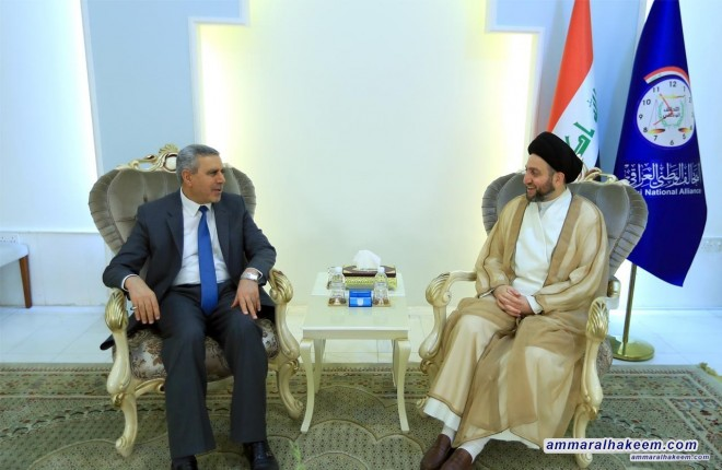 Sayyid Ammar al-Hakim with Dr. Khudair al-Khuzaie to discuss elections and developments of political situation