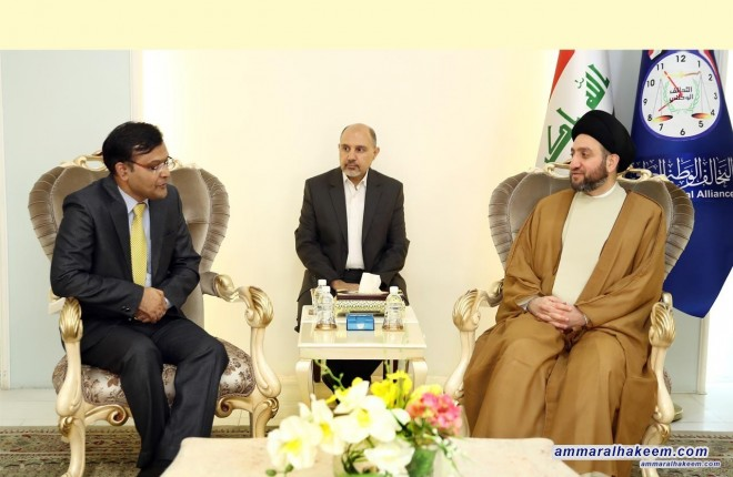 Sayyid Ammar al-Hakim receives Indian Ambassador to Baghdad Pradeep Singh Rajpurohit to discuss bilateral relations and prospects for relations development