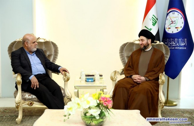 Sayyid Ammar al-Hakim meets the Iranian ambassador to discuss bilateral relations between Iraq and the Islamic Republic of Iran