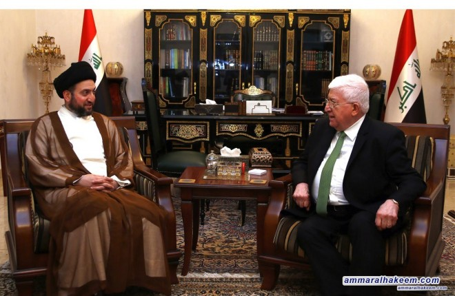 Sayyid Ammar al-Hakim with the President of Iraq to discuss the political situation and the upcoming election