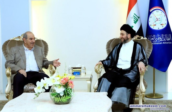 Sayyid Ammar al-Hakim receives Dr. Iyad Allawi to discuss the future government