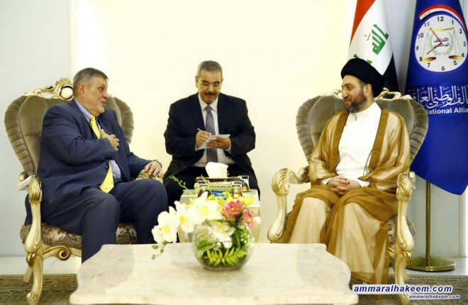 Sayyid Ammar al-Hakim receives the Representative of the United Nations in Iraq to discuss results of the elections and the future government