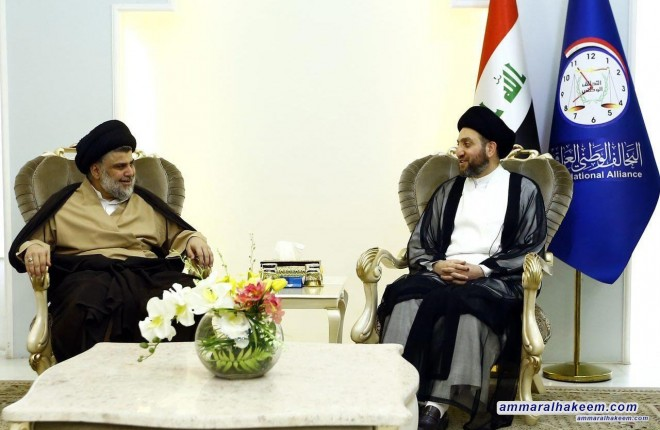 Sayyid Ammar al-Hakim receives Sayyid Moqtada al-Sadr to discuss forming the government