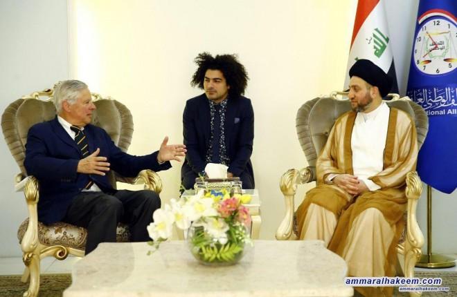 السيد عمار الحكيم يستقبل وفد معهد السلام الاوربي ويبحث معهم نتائج الانتخابات العراقية الاخيرة