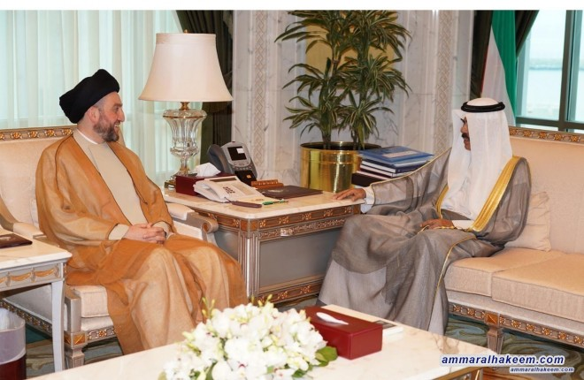 Sayyid Ammar Al-Hakim meets Crown Prince of Kuwait to discuss developments in the political situation in the region and birateral relations
