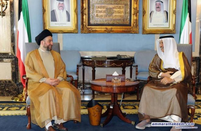 السيد عمار الحكيم يتلقي رئيس الوزراء الكويتي الشيخ جابر الحمد الصباح ويثمن مواقف الكويت في دعم العراق