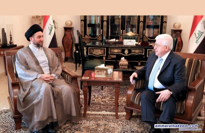 Sayyid Ammar al-Hakim meets President Fuad Masum to discuss latest developments in the political situation and elections results