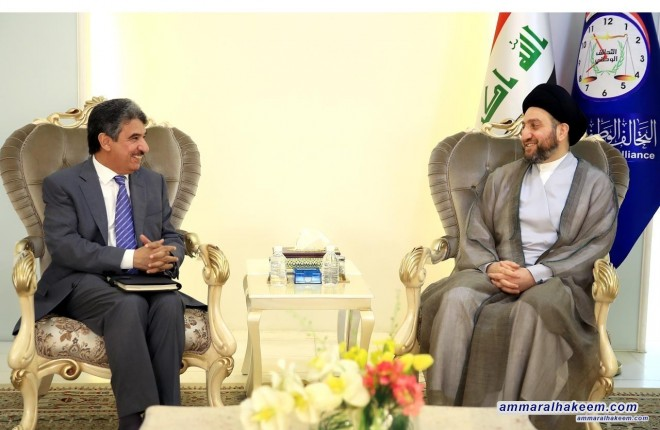 Sayyid Ammar al-Hakim receives Ambassador Salem Ghassab al-Zamanan Ambassador of the State of Kuwait to Iraq