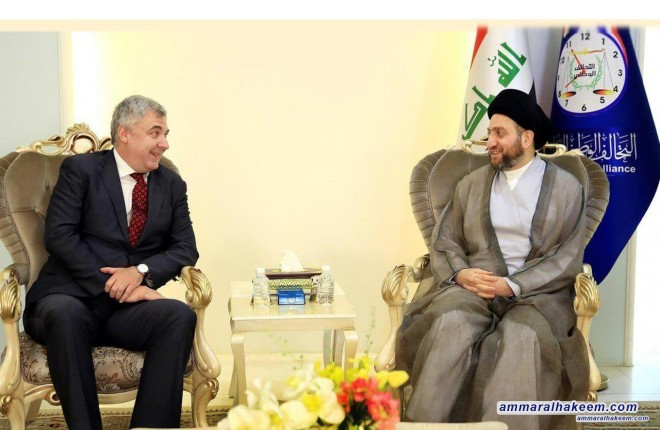 Sayyid Ammar al-Hakim receives Russian ambassador to discuss developments of the political scene and bilateral relations