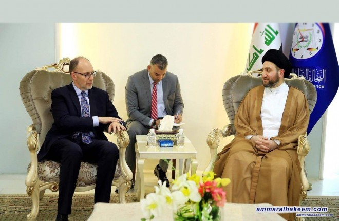Sayyid Ammar al-Hakim receives the American ambassador to discuss developments of the Iraqi , regional and international political scene