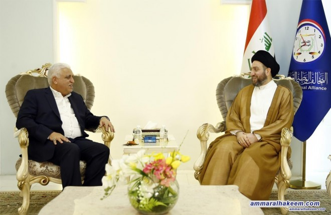 Sayyid Ammar al-Hakim receives the national security adviser Mr. Falih Al-Fayyadh to discuss the Iraqi political situation