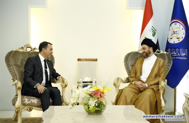 Sayyid Ammar al-Hakim with the Turkish ambassador to discuss mutual interest and the political scene in Iraq and the region