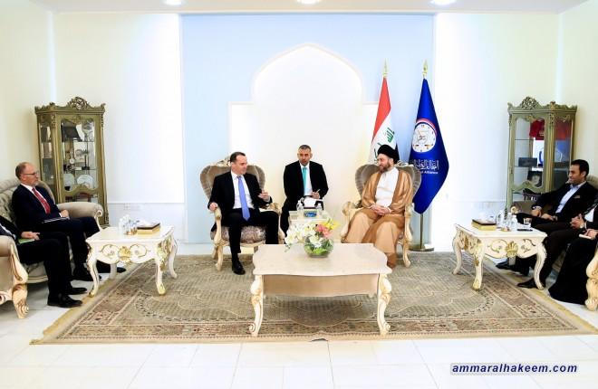 السيد عمار الحكيم يستقبل مبعوث الرئيس الأميركي للتحالف الدولي بيرت ماغورك ويبحث معه مستجدات الوضع السياسي في العراق والمنطقة