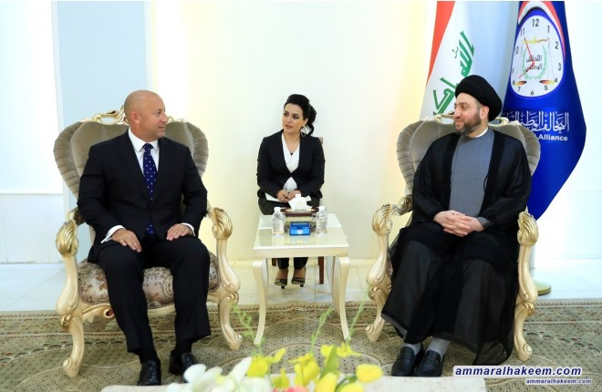 Sayyid Ammar al-Hakim receives New Zealand Ambassador to Baghdad Bradley Sooden to discuss bilateral relations