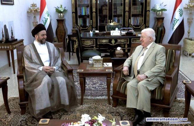 السيد عمار الحكيم يلتقي رئيس الجمهورية الدكتور فؤاد معصوم