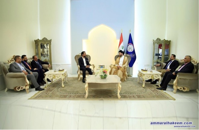 Sayyid Ammar al-Hakim receives MPs and members of Anbar Provincial Council delegation headed by governor Mohammed al-Halbusi