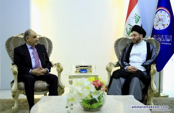 Sayyid Ammar Al-Hakim receives Dr. Saleh Al-Mutlag to discuss latest developments in the political situation