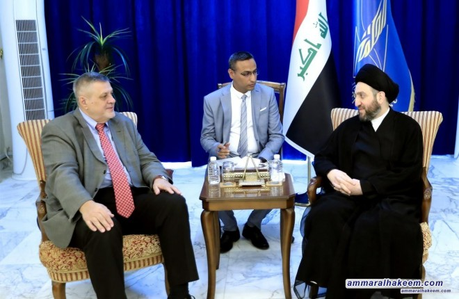 Sayyid Ammar al-Hakim receives representative of the UN Secretary-General Jan Kubic to discuss developments of the political situation in Iraq