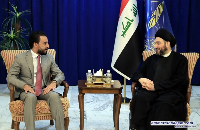 Sayyid Ammar al-Hakim receives Halbousi and stresses passing the important laws and keep the Council of Representatives away from political disputes