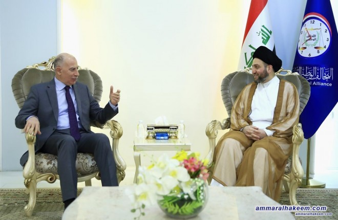 Sayyid Ammar al-Hakim receives Osama al-Nujaifi to discuss forming of the largest bloc and preparing the first meeting of the House of Representatives