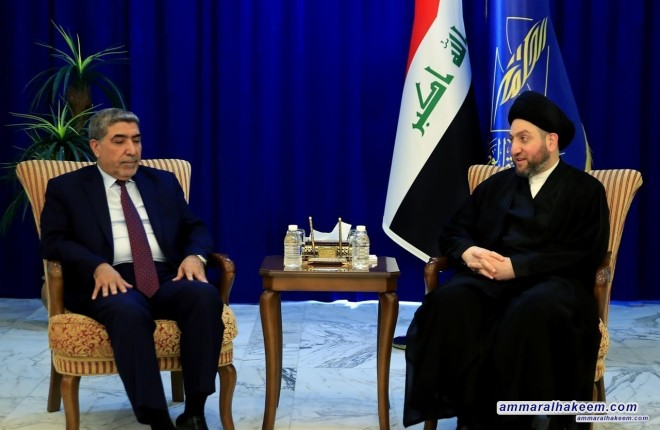 Sayyid Ammar al-Hakim receives political body of Saairun Alliance headed by Dr. Nassar al-Rubaie to discuss latest developments in the political situation in Iraq  Head of the Al-Hikma National Movement, Sayyid Ammar al-Hakim, in his office in Baghdad rec
