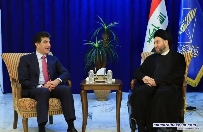 Sayyid Ammar al-Hakim receives President of Kurdistan Regional Government of Iraq, Mr. Nechirvan Barzani to discuss forming the government