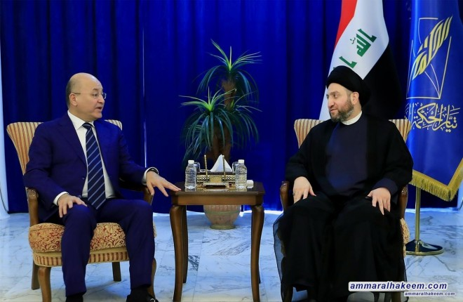 Sayyid Ammar al-Hakim with Patriotic Union of Kurdistan delegation headed by Barham Saleh, to discuss the latest developments in the political situation in Iraq