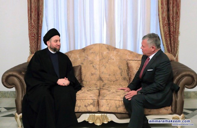 Sayyid Ammar al-Hakim meets with His Majesty King Abdullah of Jordan to discuss latest political developments in Iraq and the region and bilateral relations between