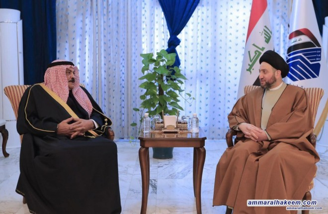 Sayyid Ammar al-Hakim receives head of the Sunni Endowment to discuss latest developments and the challenges facing Iraq
