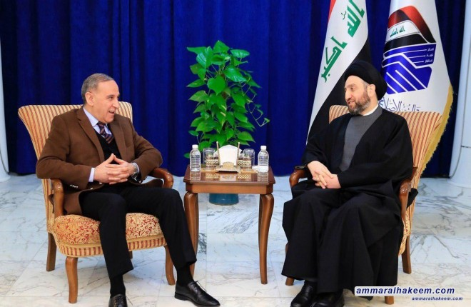 Sayyid Ammar al-Hakim with Khaled al-Obeidi to discus latest political developments and results of the Reform and Reconstruction Alliance institutionalizing