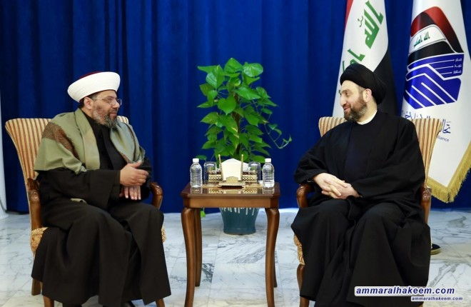 Sayyid Ammar al-Hakim receives a delegation of imams and orators of Anbar mosques and stresses on spreading tolerance and moderation