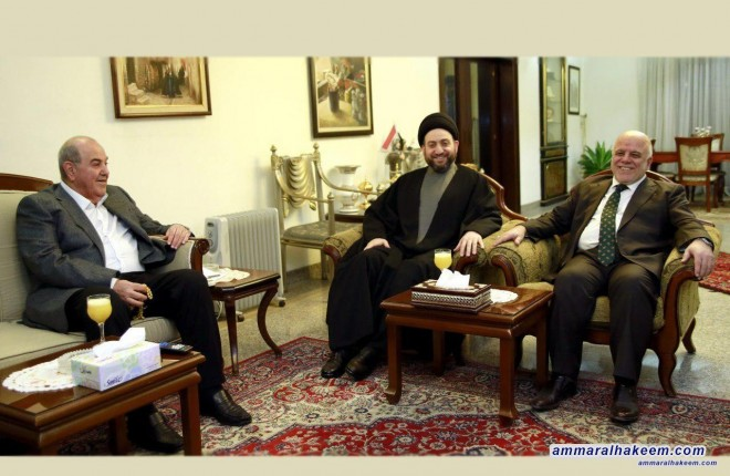 Sayyid Ammar al-Hakim meets Al-Abadi and Allawi and calls on blocs to end political impasse