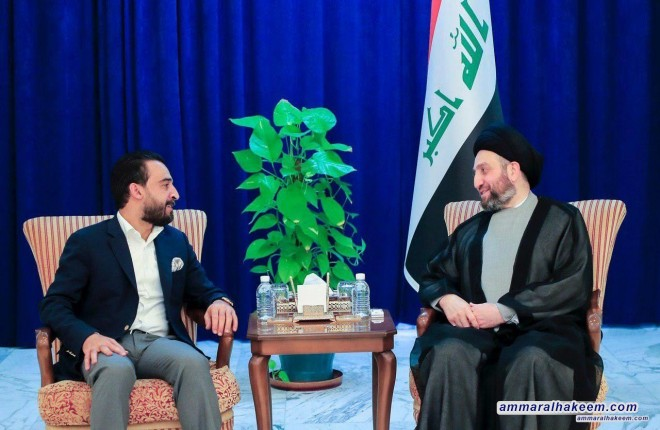 Sayyid Ammar al-Hakim with Speaker of the Council of Representatives to discuss demonstrators' demands and mechanism of response