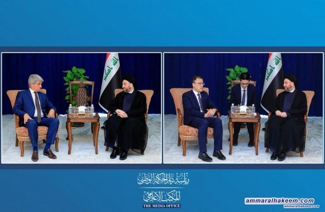 السيد عمار الحكيم يبحث مع السفيرين الصيني والفرنسي كل على حدة تطورات المشهد السياسي في العراق