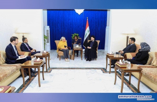 Sayyid Ammar al-Hakim with the UN representative to discuss developments in the political scene in Iraq
