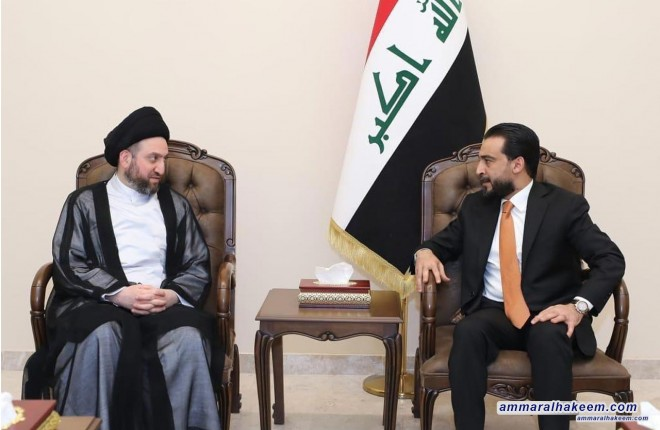 Sayyid Ammar al-Hakim with Al-Halbousi to discuss developments of political situation and demands of demonstrators