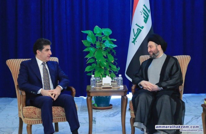 Sayyid Ammar al-Hakim receives Barzani and stresses concerted efforts of all to achieve demands of demonstrators
