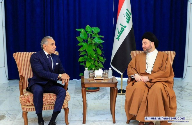 Sayyid Ammar al-Hakim receives the Egyptian Ambassador to discuss bilateral relations and political issues in the region