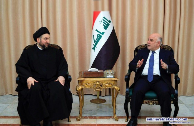 Sayyid Ammar al-Hakim meets Al-Abadi to discuss latest developments in the political situation