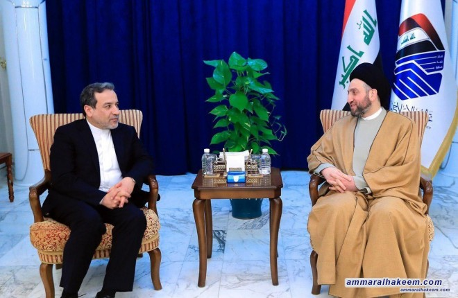 Sayyid Ammar al-Hakim with Assistant Minister of Foreign Affairs of Iran Abbas Araghchi to discuss bilateral relations and developments in the regional political situation