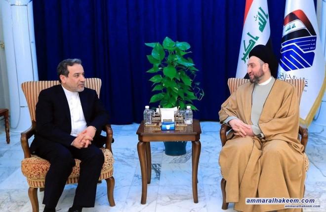 السيد عمار الحكيم يبحث مع عباس عراقچي مساعد وزير الخارجية الايراني العلاقات الثنائية ومستجدات الوضع السياسي الاقليمي