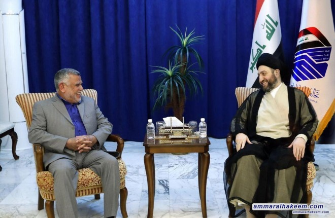Sayyid Ammar al-Hakim receives Amiri and urges to complete the government cabinet