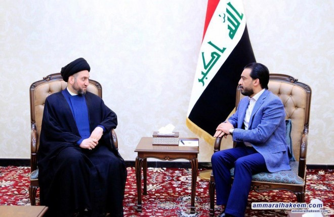 Meeting with Halbousi .. Sayyid Ammar al-Hakim stresses to include the latest Mosul events on the agenda of the House of Representatives