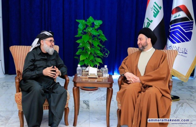 Sayyid Ammar al-Hakim receives a delegation of the Kurdistan Islamic Movement headed by Sheikh Erfan Ali