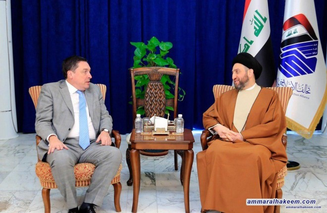 Sayyid Ammar al-Hakim with the Ambassador of the United Kingdom to discuss developments of the political situation and the relationship between the two countries