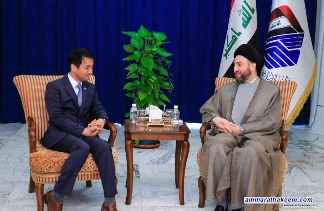 Sayyid Ammar al-Hakim receives the representative Korean president and stresses the need to enhance security and economic cooperation