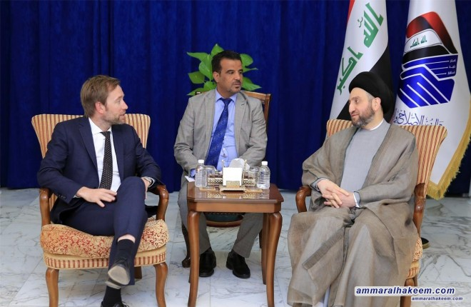 Sayyid Ammar al-Hakim stresses to the Norwegian envoy that Iraq dissociates from the policy of the axes, and discusses bilateral relations