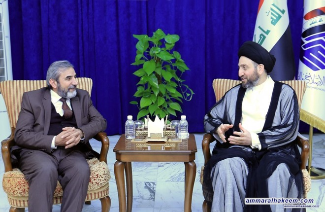 Sayyid Ammar al-Hakim with delegation of the Kurdistan Islamic Union to discuss relationship between Baghdad and Erbil and developments of political situation