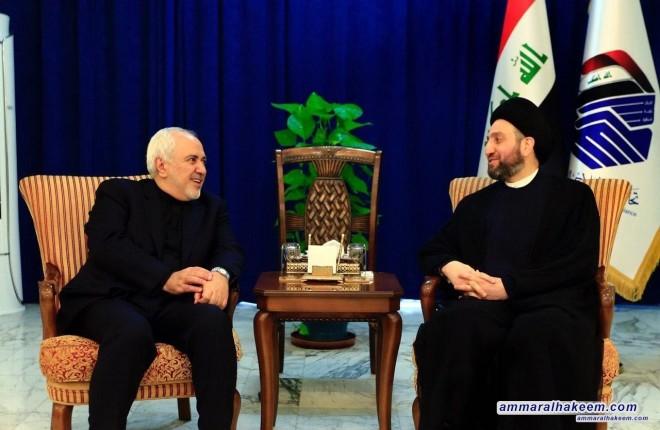 السيد عمار الحكيم يستقبل ظريف ويشدد على أهمية اعتماد التهدئة للتخفيف من حدة التصعيد الامريكي الايراني